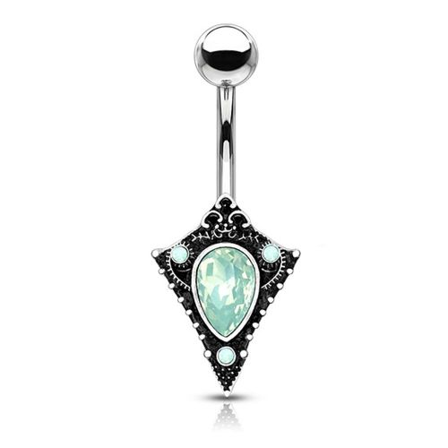 Antique Silver Belly Bar with Green Opal Shield
